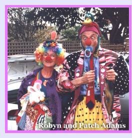 Photo: Robyn Handbury and Patch Adams in clown costume