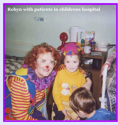 Photo: Robyn with Patients in childrens hospital