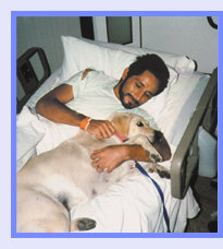 Photo: Patient has time with his pet dog in hospital