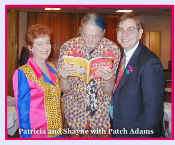 Photo: Patch Adams reading the book with funny expression